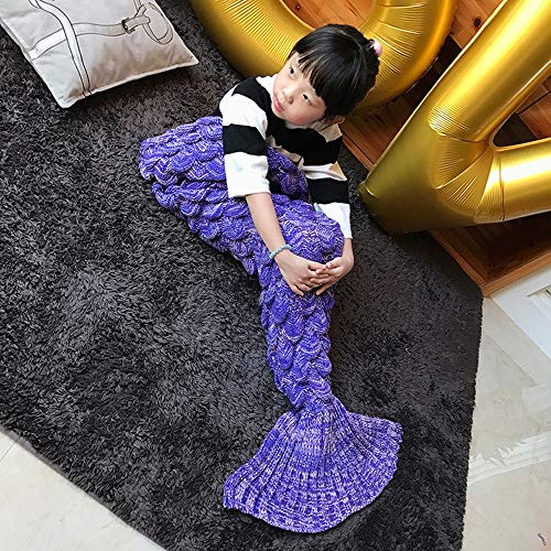 JMM Customized Children's Scales Upgraded Version Ebay Mermaid Tail Sweater Blanket nap Sofa Blanket Blanket air Conditioning Blanket (Color : -