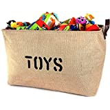 """NEW! XXXLARGE Jute Basket """"TOYS"""" 22""""Long x 14"""" DEEP Storage Bin (Thicker stronger Jute) PU Leather Handles- Storage Baskets for organizing Baby Toys, Kids Toys, Baby Clothing, Gift Baskets"""