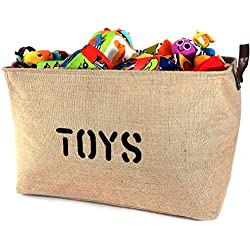 "OrganizerLogic Burlap Storage Organizer Basket - Heavy Duty Storage Basket - Perfect Storage Jute Basket for Laundry, Shoes and Kids Toys - 22"" x 15"" x 14"""