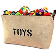 OrganizerLogic Burlap Storage Organizer Basket - Heavy Duty Storage Basket - Perfect Storage Jute Basket for Laundry, Shoes and Kids Toys - 22  x 15  x 14
