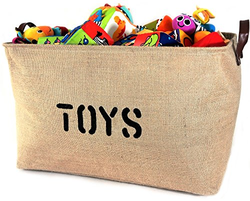 OrganizerLogic Burlap Storage Organizer Basket - Heavy Duty Storage Basket - Perfect Storage Jute Basket for Laundry, Shoes and Kids Toys Storage bin - Storage Baskets Measure 22
