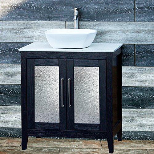 30 bathroom solid wood vanity cabinet ceramic top sink faucet cm1 - Wood Bathroom Vanities