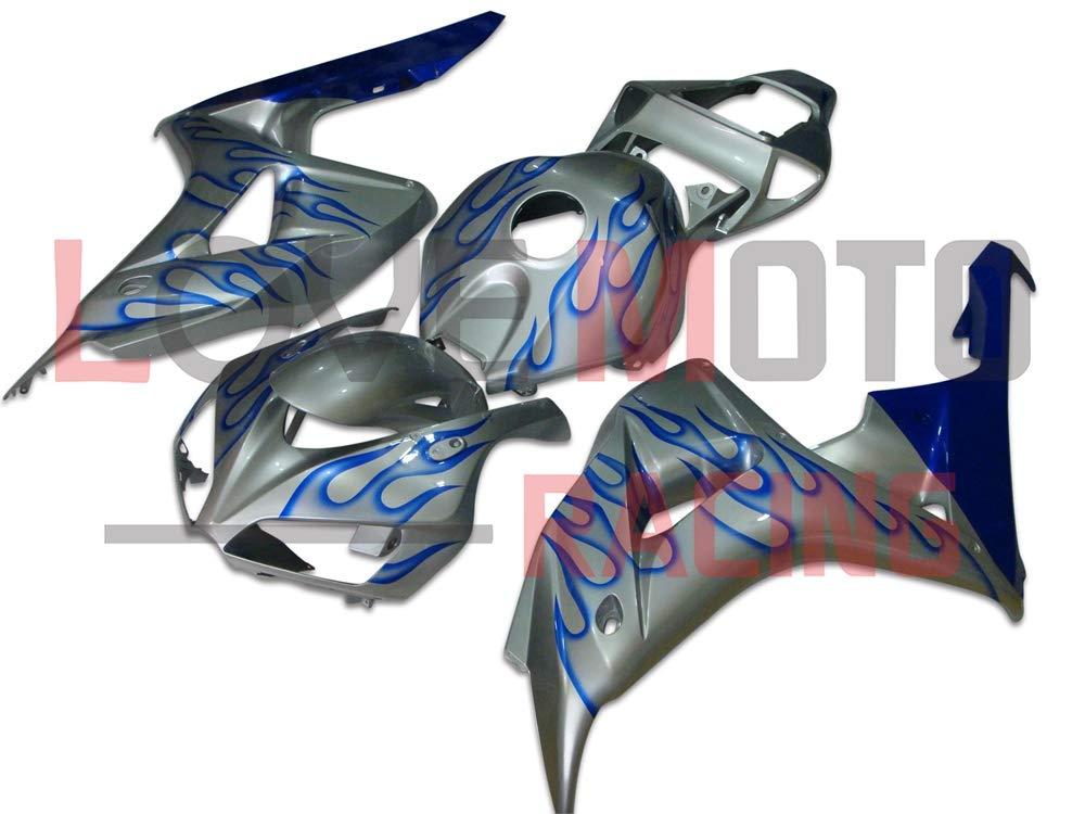 LoveMoto ブルー/イエローフェアリング ホンダ honda CBR1000 RR 2006 2007 06 07 CBR1000 RR ABS射出成型プラスチックオートバイフェアリングセットのキット ブルー シルバー   B07K81NNVB