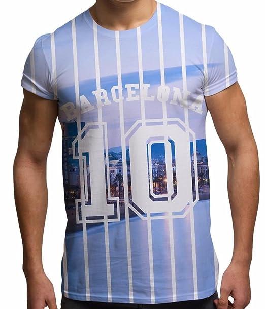 Camisetas Totalmente Impresas por sublimación en 3D para Hombre Ciudad de Barcelona: Amazon.es: Ropa y accesorios