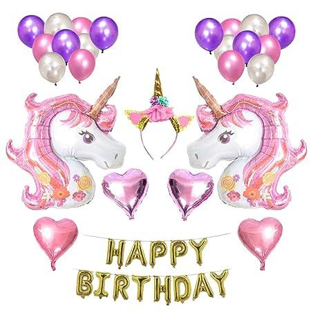 Baoblaze Set para Cumpleaños de Unicornio Cabeza Feliz ...