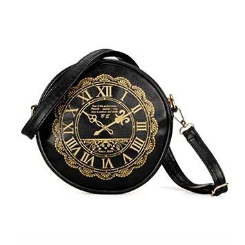 Retro Clock Reloj piel artificial Lindo Kawaii Carteras Monederos Bolso De Hombro - Negro, mujer