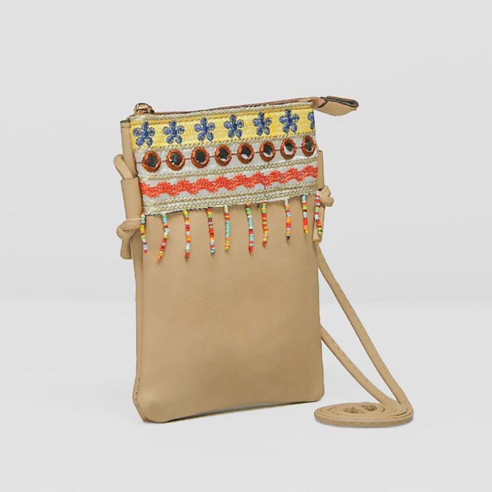 Cute Shoulder Bag Beige Vegan Faux Leather Hippie Bohemian Clutch Zipper Strap (Beige): Handbags: Amazon.com