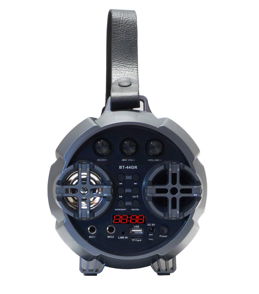Boytone BT-44GR Portable Bluetooth Indoor//Outdoor 2.1 Hi-Fi Cylinder Speaker FM