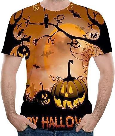 Subfamily Camiseta de Manga Corta con Estampado de Calabaza de Halloween para Hombre Camiseta con Cuello En V 3D de Calabaza de Halloween Tops Blusas: Amazon.es: Ropa y accesorios