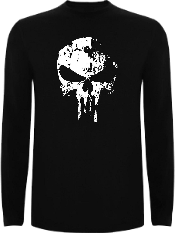 The Fan Tee Camiseta Manga Larga de Hombre Punisher El Castigador Comic Calavera