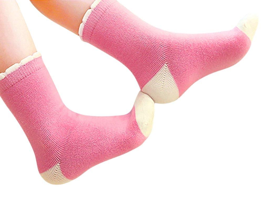 Genda 2Archer Kids Big Little Girls Fashion Cotton Crew Seamless Socks 5 Pack