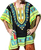 RaanPahMuang Brand Throw Over Poncho Top (Fully Open Sides) African Dashiki Art, Black With Yellow Multi