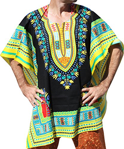 RaanPahMuang Brand Throw Over Poncho Top (Fully Open Sides) African Dashiki Art, Black With Yellow Multi by RaanPahMuang