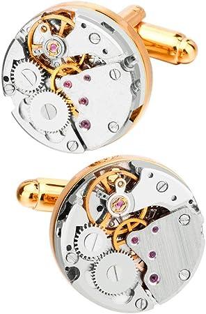 Xhtoe Gemelos Hombres 1 par Movimiento Gemelos Reloj Steampunk Camisa for Hombre Reloj Vintage Gemelos Regalos de Boda de Negocios Gemelos Camisa Hombre (Color : Gold, Size : 18mm): Amazon.es: Hogar