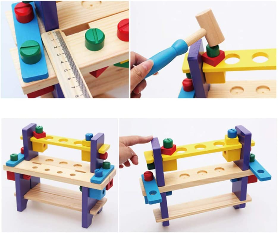 Children Pretend Play Premium Solid Wood Project Play Building Kits Little Engineer Learning Disassembly Nut Combination Tools Sets for Toddler BELUPAID Mini Wooden Workbench Toy for Kids