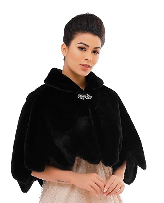 Victorian Capelet, Cape, Cloak, Shawl, Muff Jakawin Women's Faux Rabbit Fur Wraps and Shawls Bride Wedding Fur Stole Bridal Fur Shrug for Women and Girls $38.66 AT vintagedancer.com