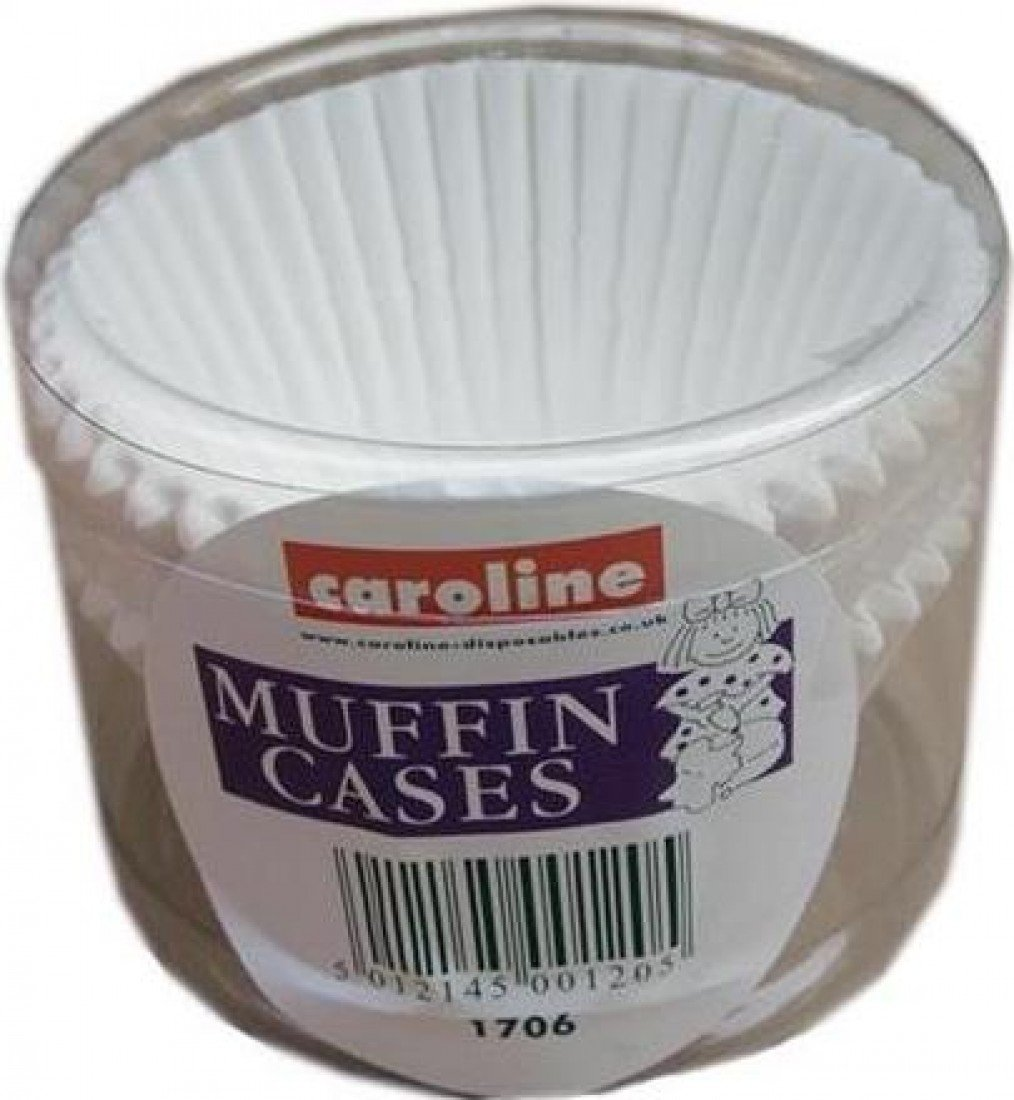 caroline Plain White Muffin Cake Cases - Tub of 50 Large (8cm x 4cm) ca1706