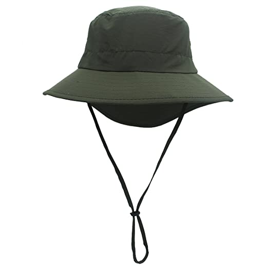 b1635fde65934 Connectyle Mens Outdoor UPF 50+ Wide Brim Safari Sun Hat Summer UV  Protection Boonie Fishing