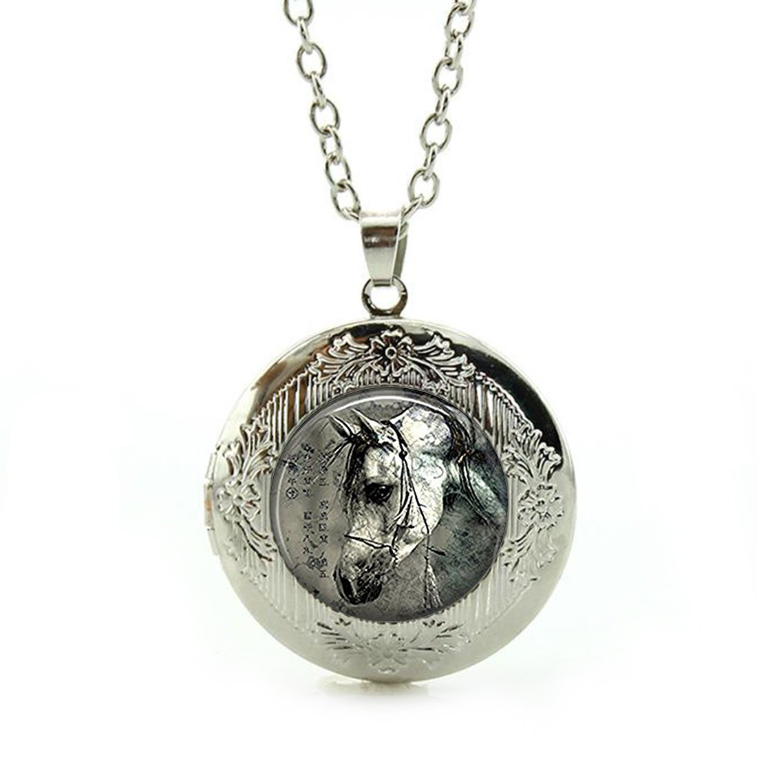 Women's Custom Locket Closure Pendant Necklace Nature Animal Included Free Silver Chain, Best Gift Set LooPoP KF-LSZBS-0343
