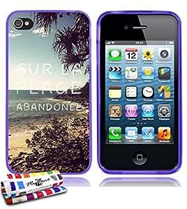 Carcasa Flexible Ultra-Slim APPLE IPHONE 4 / IPHONE 4S de exclusivo motivo [En la playa] [Violeta] de MUZZANO  + ESTILETE y PAÑO MUZZANO REGALADOS - La Protección Antigolpes ULTIMA, ELEGANTE Y DURADERA para su APPLE IPHONE 4 / IPHONE 4S
