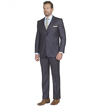Mens Tight Slim Fit Notched Lapel 3 Piece Suit with Regular-cut ...
