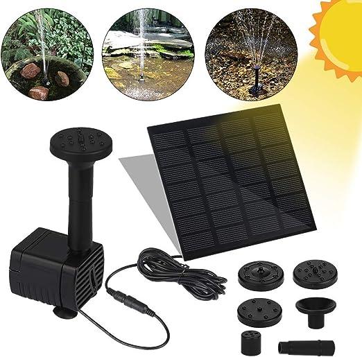 Fuente Solar Bomba, Bomba de Agua Solar, Fuente Solar con Panel Solar, Bomba Flotante, Fuentes Solares para Jardin, Solar Kit Bomba de Agua para Jardín, Estanque, Pajaros, con 4 Rociador Diferente: Amazon.es: