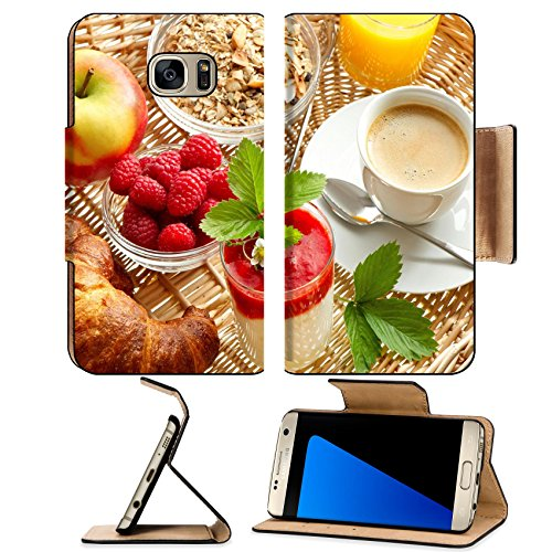 Flow Breakfast Cup (MSD Premium Samsung Galaxy S7 Edge Flip Pu Leather Wallet Case IMAGE ID: 28440587 Breakfast with coffee croissants orange juice and fresh strawberry yogurt)
