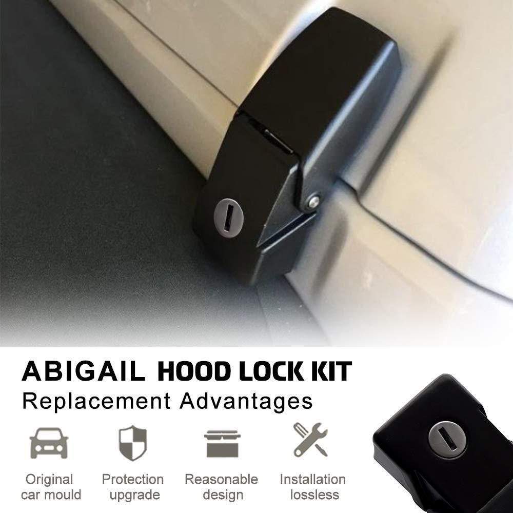 A ABIGAIL A7011F1 Anti-Thief Hood Lock Catch Latches Kit Assembly for Jeep Wrangler JK JKU JL 2007-2017 2 Door 4 Door Stainless Steel Hood Lock