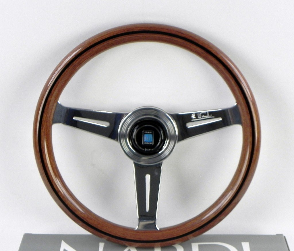 NARDI Steering Wheel - Classic - 330mm (12.99 inches) - Mahogany Wood with Polished Spokes - Part # 5061.33.3000 N100