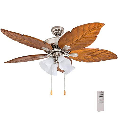 Prominence Home 50768-01 Grayton Tropical Ceiling Fan 3 Speed Remote , 52 , Dark Cherry Hand Carved Wood, Brushed Nickel