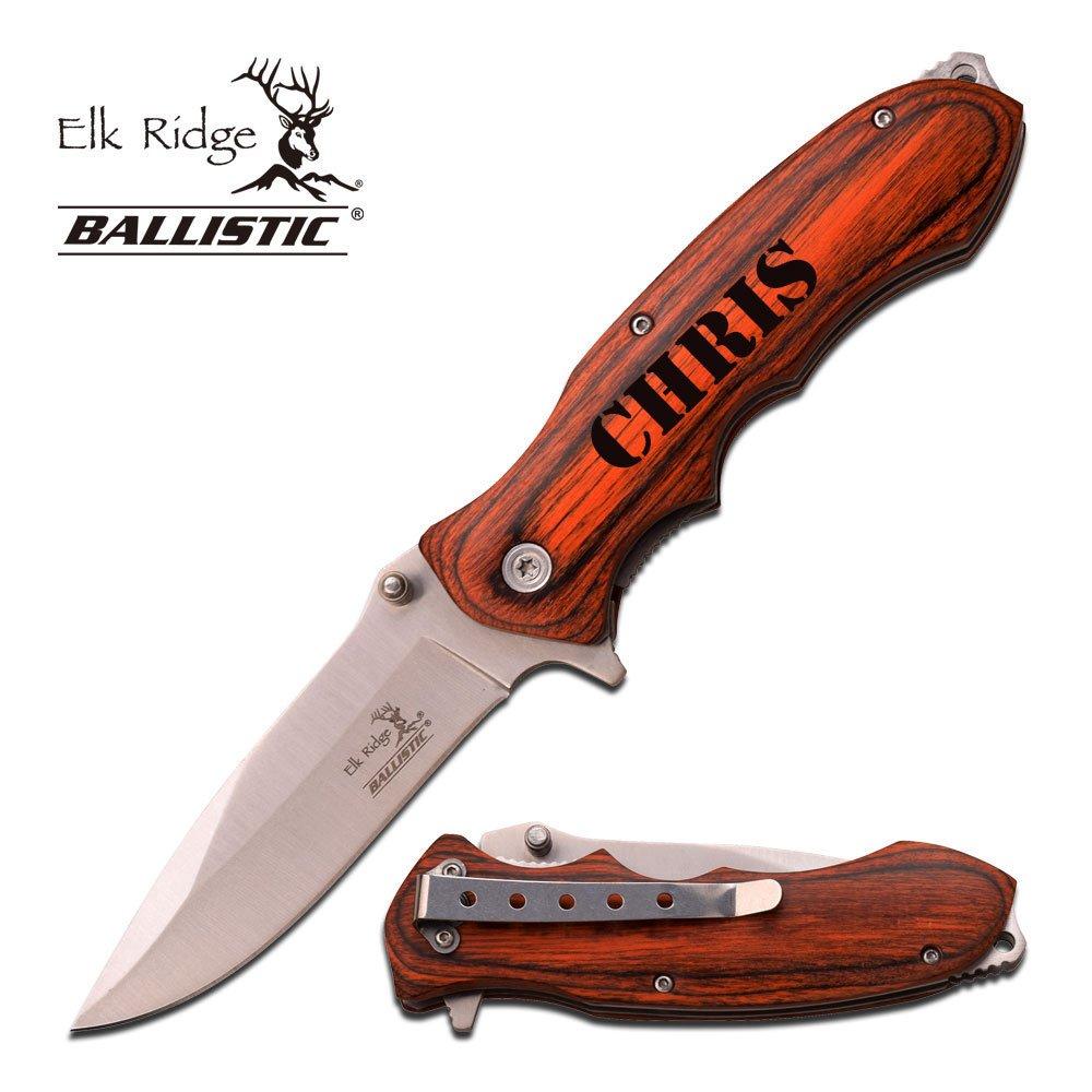 Elk Ridge Free Engraving – Quality Pakkawood Handle Folding Knife Silver, ER-A160SW