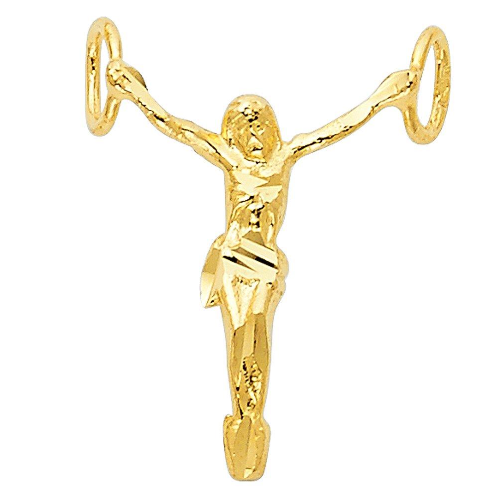 20mm x 15mm 14k Yellow Gold Small//Mini Jesus Christ Body Charm Pendant