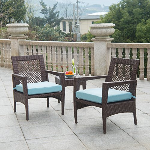 AURO Brisbane Outdoor Furniture | 3 Piece Rattan Patio Set | All-Weather Brown Wicker Bistro Set with 2 Water resistant Blue Olefin Cushioned Chairs & End Table | Porch, Backyard, (All Weather Rattan Furniture)