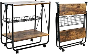 QEEIG Folding Bar Cart Kitchen Serving Island Carts with Wheels Farmhouse Rolling Dinning Islands Foldable Storage Baker Rack, Rustic Brown (SC835-023BN)