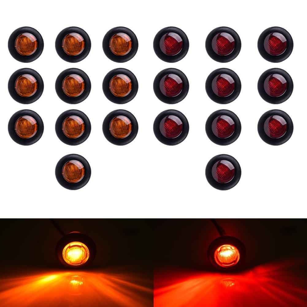 Catinbow Marker Light 3/4' Single LED Side Marker Light Trailer Marker Light Round Marker Light for Truck Bus 150LM 12V (10Amber + 10Red)