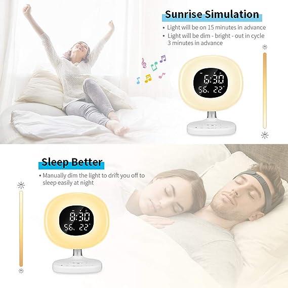 HHY-D Reloj Despertador LED con Luz de Despertador de Amanecer ...