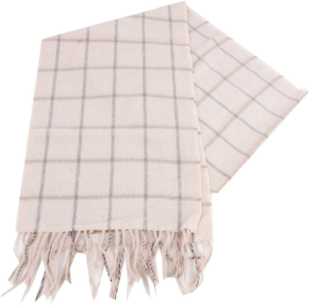 Bassin and Brown Mens Snow Check Cashemere Scarf Cream//Grey
