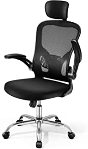Adjustable Office Chair Ergonomic Mesh Chair High Back Computer Desk Chair with Flip-up Armrest and Adjustable Headrest