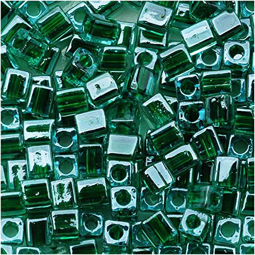 - Miyuki 4mm Glass Cube Beads Green-Lined Blue #2643 10 Grams