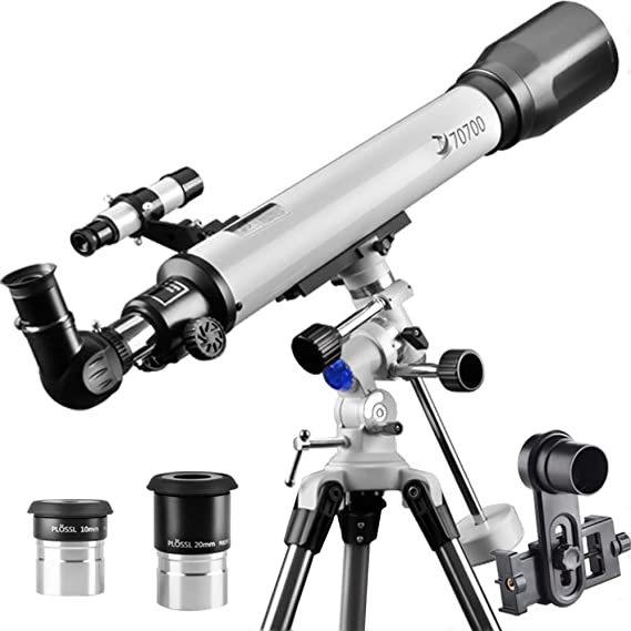 Telescope 70EQ Refractor Scope-Professional 70mm Aperture and 700mm Focal Length for Student Kids Adults Beginners-Come with a Smartphone Adapter