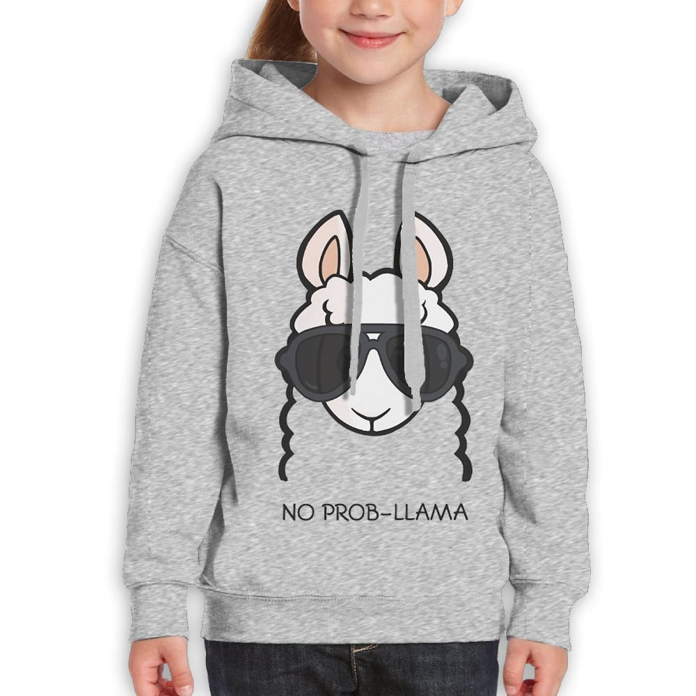 Teen's Pullover Sweatshirt Hoodie Cotton No-Prob Llama Sunglasses Printed For Boys Girls by DIMANNU