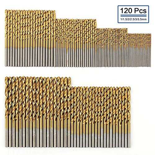 COMOWARE Titanium Twist Drill Bit Set- 120 Pcs HSS Jobber Drill Bits for Metal, Steel, Wood, Plastic, Copper, Aluminum Alloy, 1 mm to 3.5 mm ()