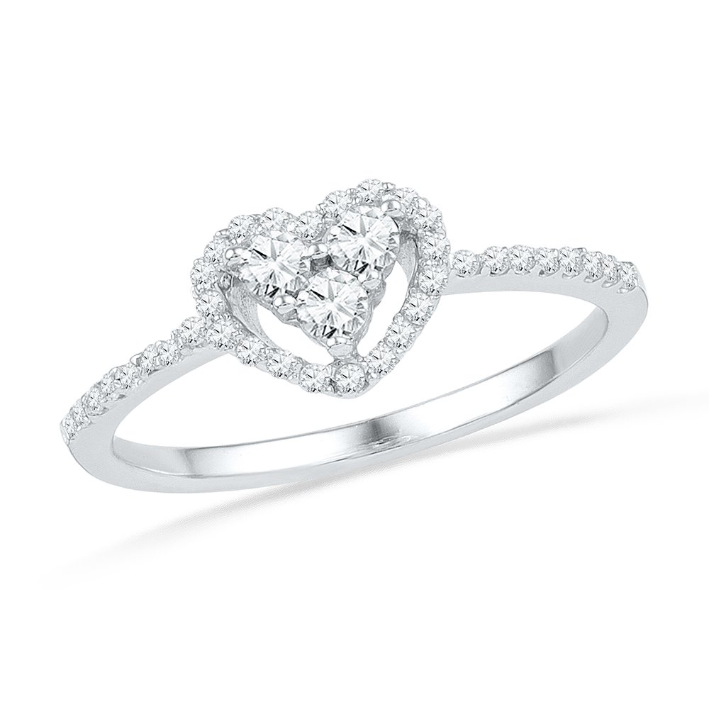 Heart Diamond Promise Ring Solid 10k White Gold Halo Band Of Love Polished Finish Fancy 1/4 ctw