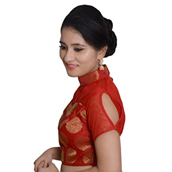 5f5f649da6a12 Biyu Womens Red Tapeta Silk Chinese Collar Padded Readymade Saree Blouse(JB003-RED 38)   Amazon.in  Clothing   Accessories