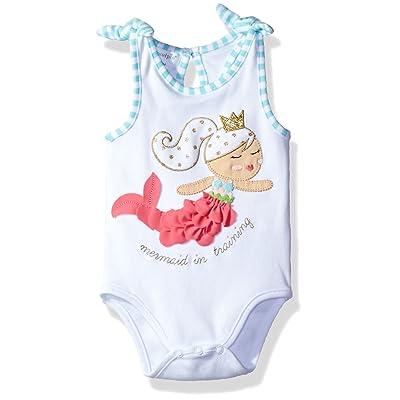 Mud Pie Baby Girls' One Piece Bodysuit Crawler, Sleeveless, Mermaid