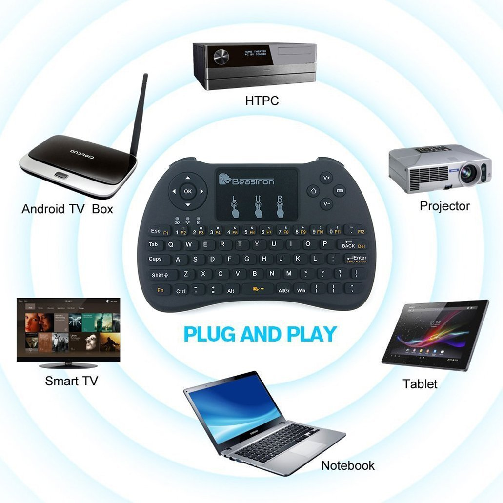 2019 Upgraded Backlit Portable Keyboard Wireless with Remote Control for laptop,PC,Tablets,Pad,Google Android TV,Xbox,PS3//4 .Black Beastron 2.4G Mini Wireless Keyboard with Touchpad&QWERTY Keyboard