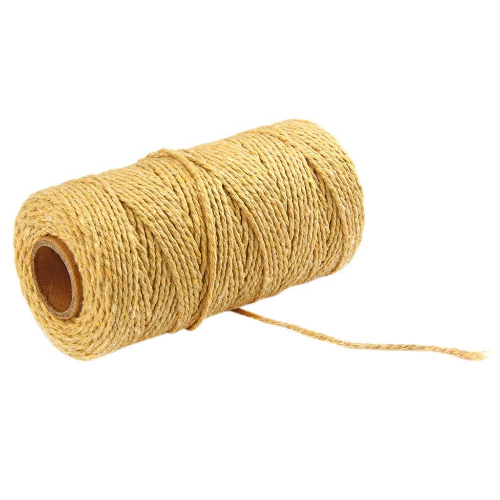 Jute Twine String,100m Long/100Yard Pure Cotton Twisted Cord Rope Crafts Macrame Artisan String (Light Yellow, 2mm)
