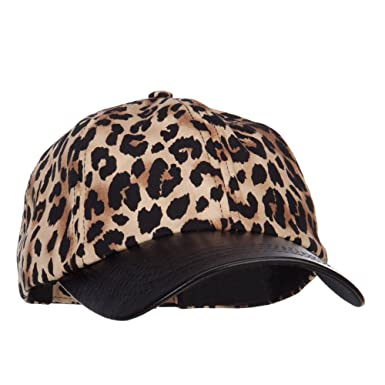 8b406602842a1 Leopard Print Cap with Leather Bill - Brown OSFM at Amazon Women s Clothing  store