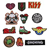 ELEOPTION Assorted Applique Embroidered Sew Iron on Patch applique Sew-on patches for DIY Jeans Jacket Clothing Backpacks Handbag Shoes Caps (B-Mixed colors Set 12)