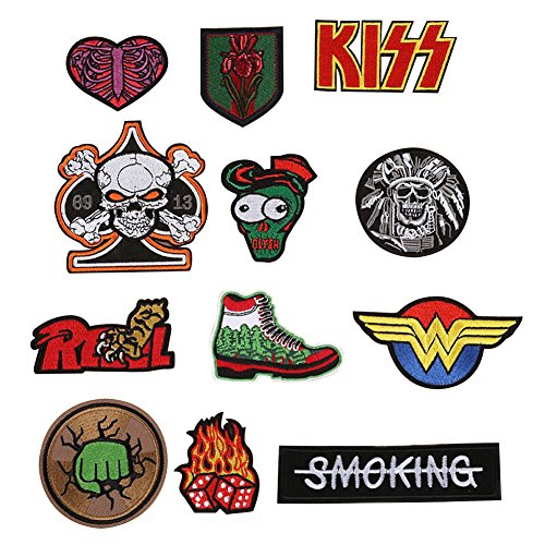 ELEOPTION Assorted Applique Embroidered Sew Iron on Patch applique Sew-on patches for DIY Jeans Jacket Clothing Backpacks Handbag Shoes Caps (B-Mixed colors Set 12) by Eleoption